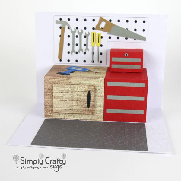 Garage Workshop Popup Card SVG File