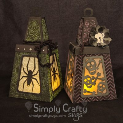 Spider and Skulls Halloween Lantern SVG File