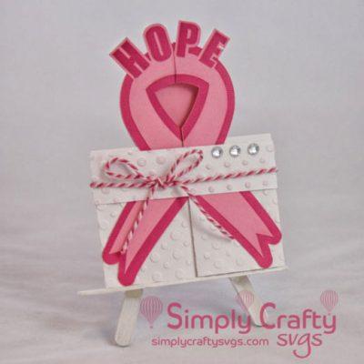 Cancer Ribbon Double Fold Card SVG File
