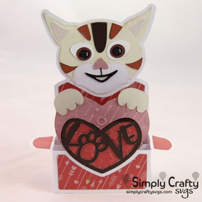 Cat Love Box Card SVG File