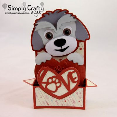 Dog Love Box Card SVG File