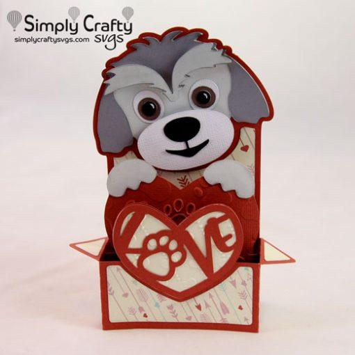 Dog Love Box Card SVG File