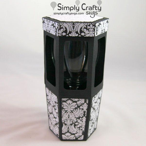 Hexagon Wine Glass Box SVG File