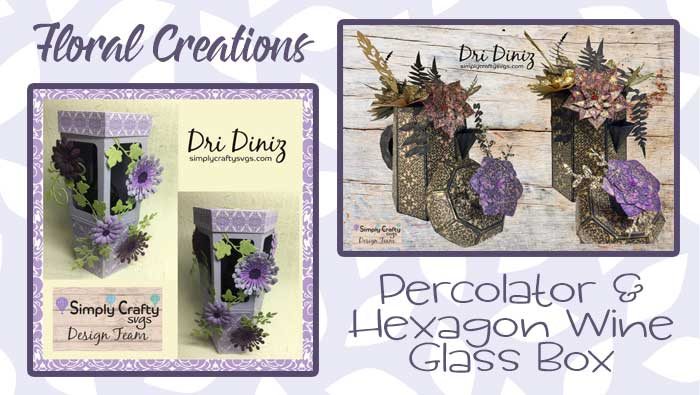 Percolator and Hexagon Wine Glass Box Floral Creations by DT Dri