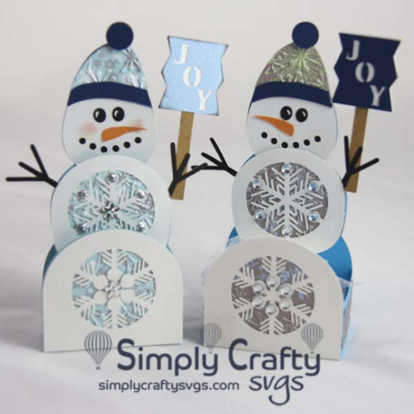 Wintery Snowman Box Card and Treat Box SVG File