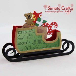 Loaded Sleigh Box Card SVG File