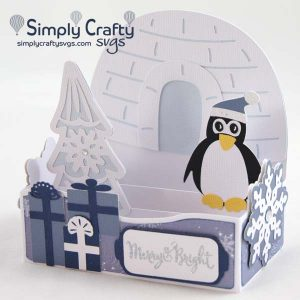 Penguin Christmas Box Card SVG File