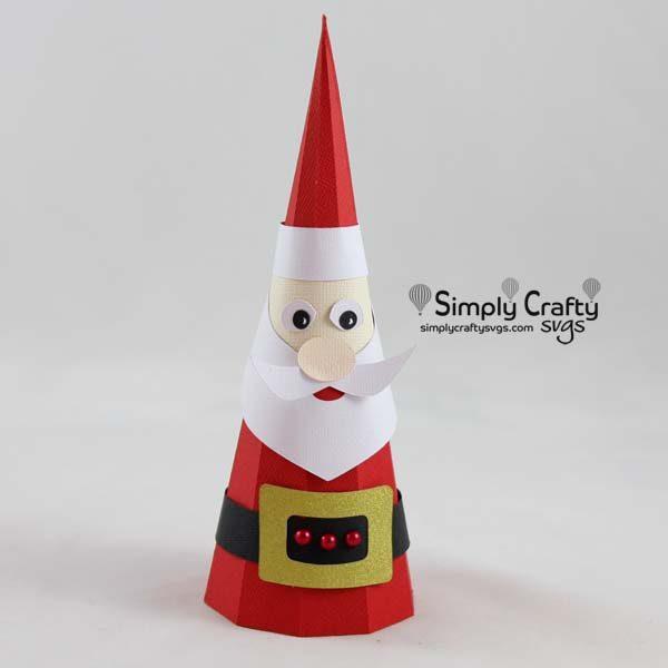 3D Cone Santa SVG File