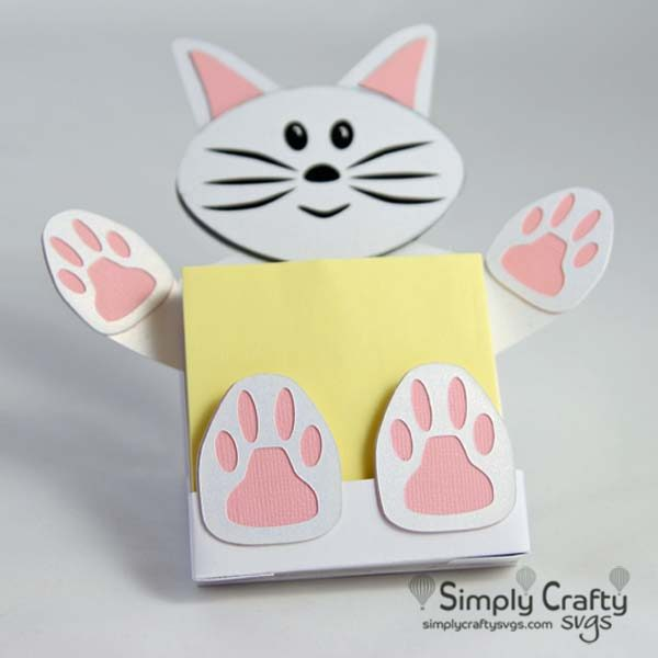 Cat Sticky Notepad Holder SVG File