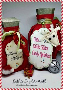 Christmas version of the of the Apothecary Bottle Set.  They are reindeer food bottles with edible glitter candy sprinkles!
