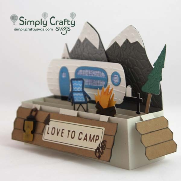 Mountain Camping Box Card SVG File