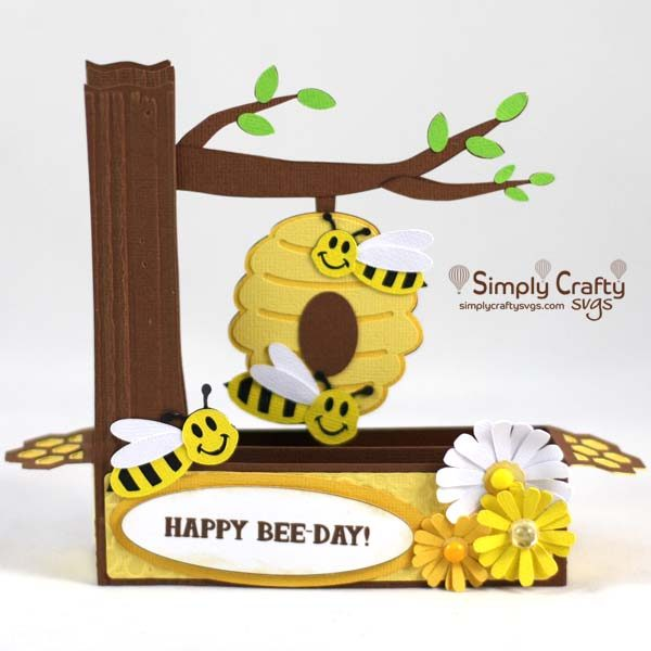 Buzzing Bees Box Card SVG File
