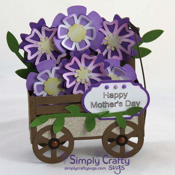 Wagon of Flowers Box Card SVG File