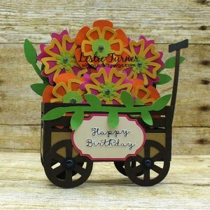 Birthday Wagon of Flowers Card by Leslie