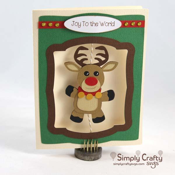 Reindeer Spinner Card SVG File