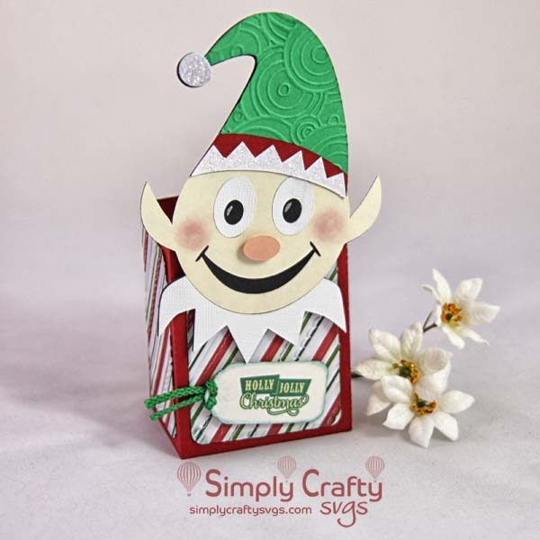 Smiley Elf Christmas Treat Box Set SVG File