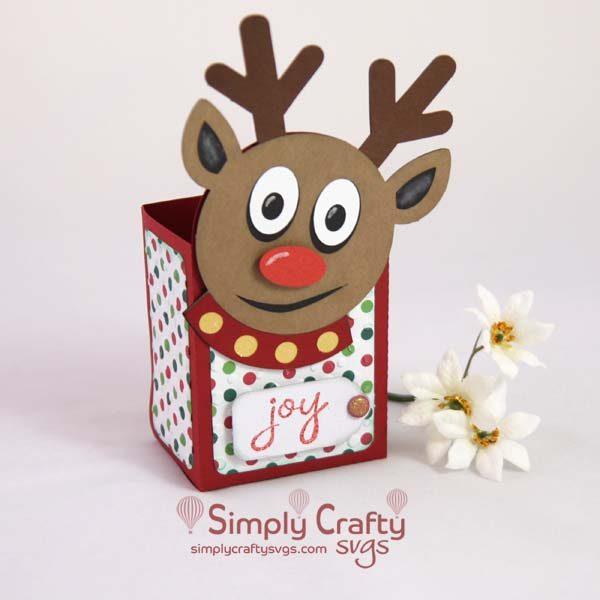 Smiley Reindeer Christmas Treat Box Set SVG File