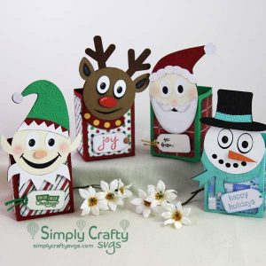 Smiley Christmas Treat Box Set SVG Files