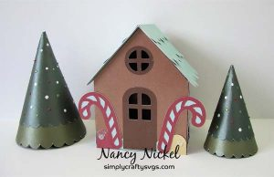 Gingerbread House Box with Christmas Trees by Nancy