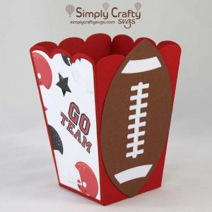 Football Popcorn Box SVG File