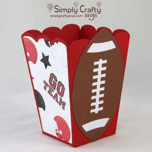 Football Popcorn Box SVG File
