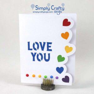 Rainbow Heart Border Love Card SVG file