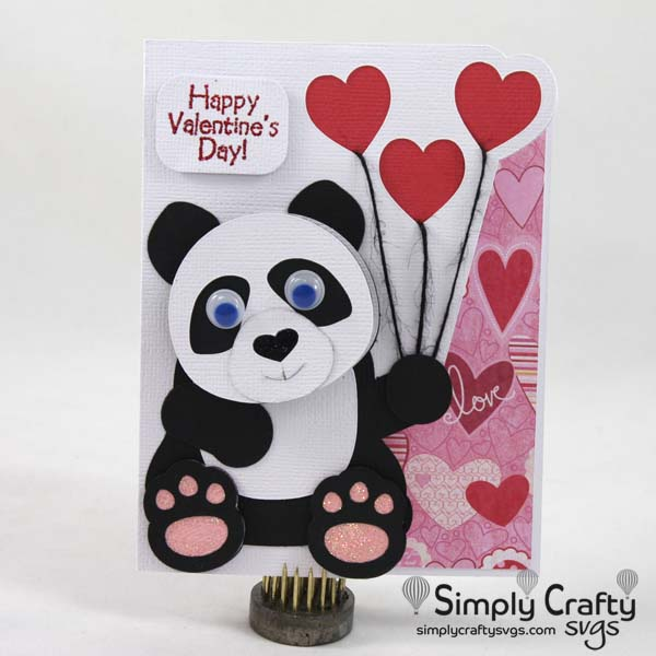 Panda with Hearts Card SVG File