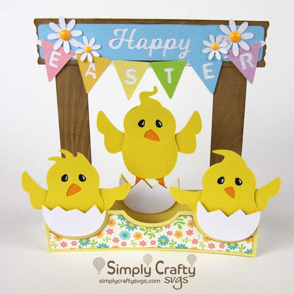 Three Chicks Easter Card SVG File