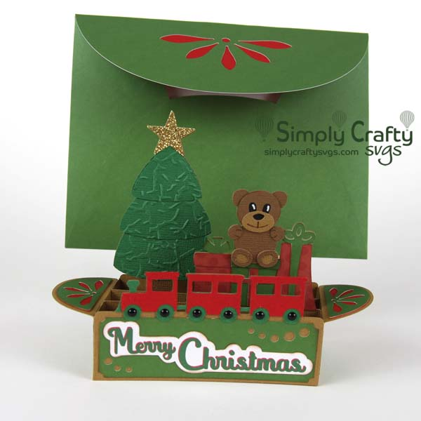 Christmas Tree with Train Box Card SVG File