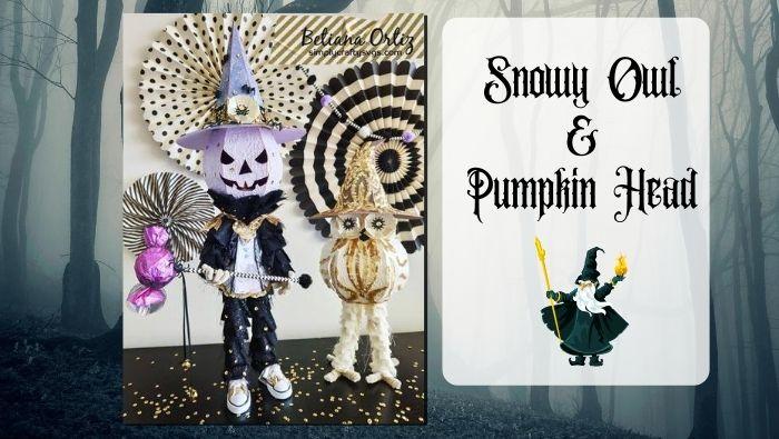 Snowy Owl and Pumpkin Head by Betiana
