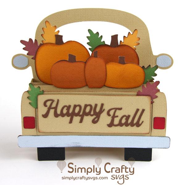 Fall Truck Box Card SVG File