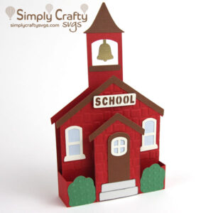 Schoolhouse Box Card SVG File