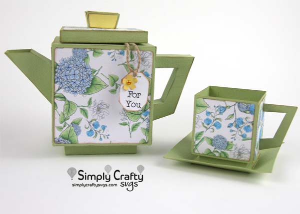 Square Teapot and Teacup SVG file
