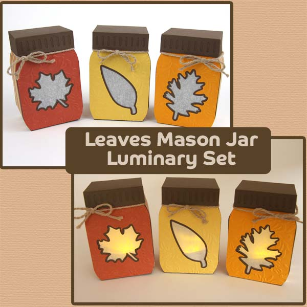 Leaves Mason Jar Luminary Set SVG File