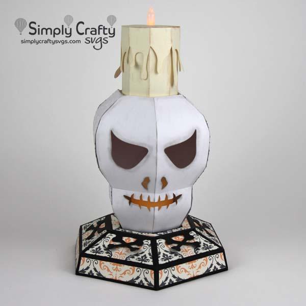 3D Skull Head Candle Holder SVG File