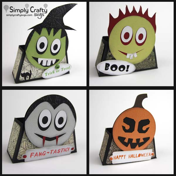 Smiley Halloween Treat Box Set SVG File