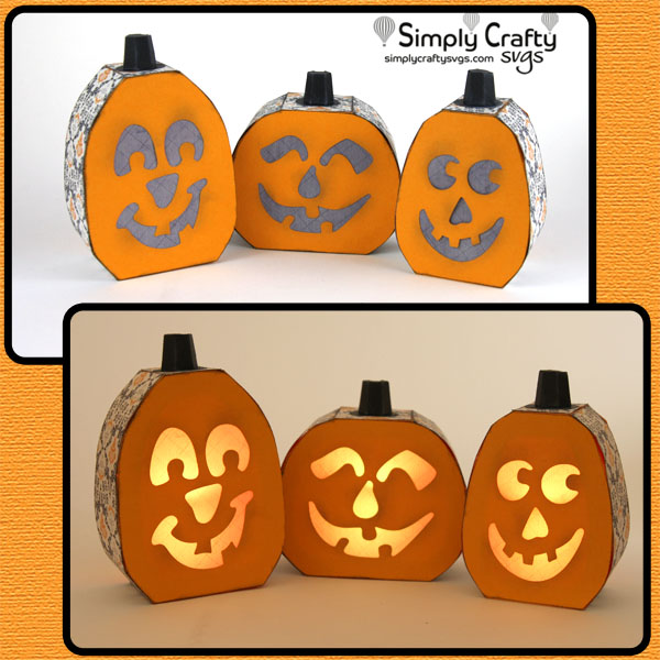 Halloween Jack-o-Lantern Trio SVG file