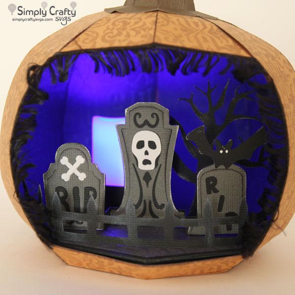 Pumpkin Graveyard Diorama SVG File