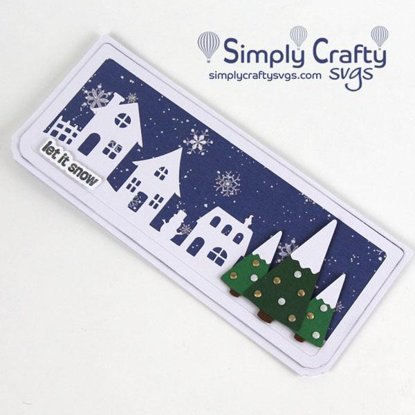Christmas Village Slimline Card SVG File
