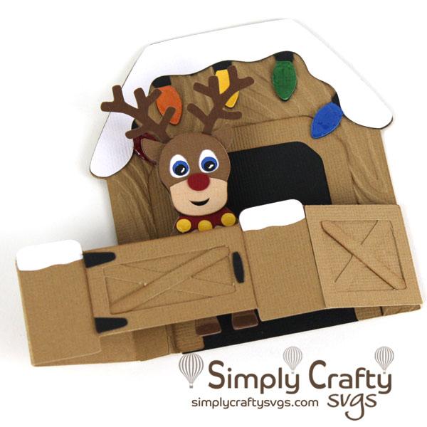 Reindeer Stable Card SVG File