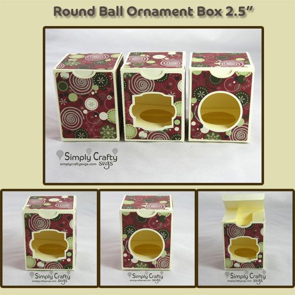Round Ball Ornament Box 2.5 inch SVG File