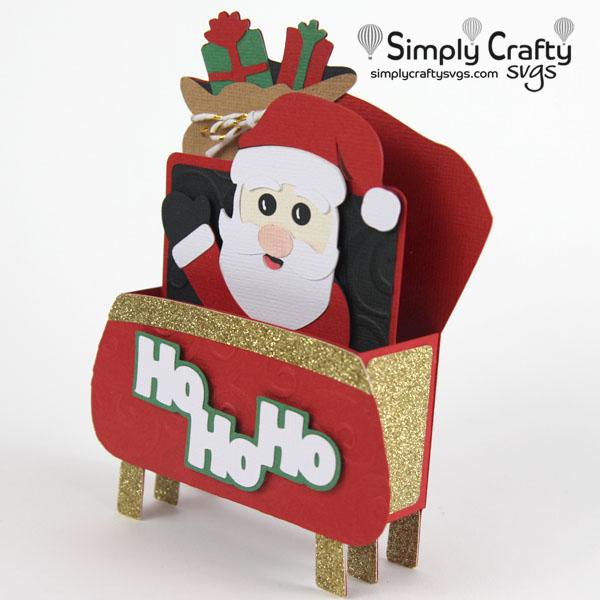 Santa's Sleigh Card SVG File