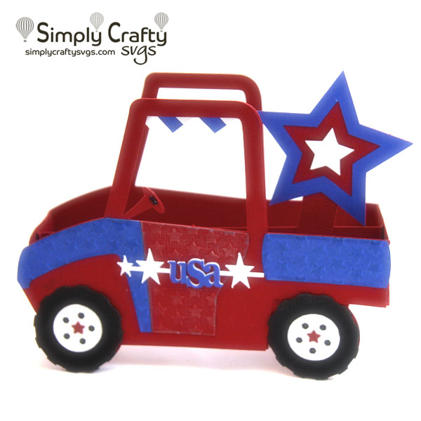 Patriotic Side by Side Box Card SVG File