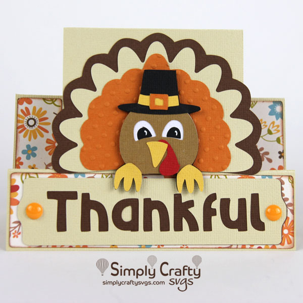 Thankful Turkey Card SVG File