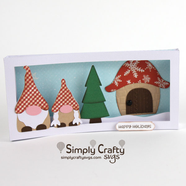 Gnome Family Slimline Card SVG file