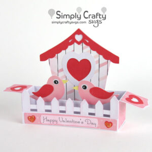 Valentine Birdhouse Box Card SVG File