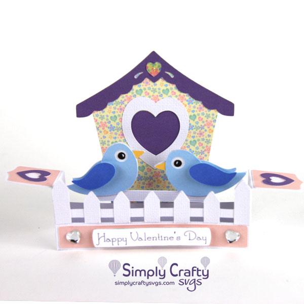 Valentine Birdhouse Box Card SVG File