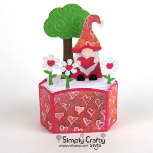 Valentine Gnome Box Card SVG File