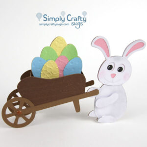 Easter Bunny Wheelbarrow Card SVG File