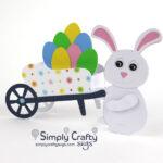Easter Bunny Wheelbarrow Card SVG File